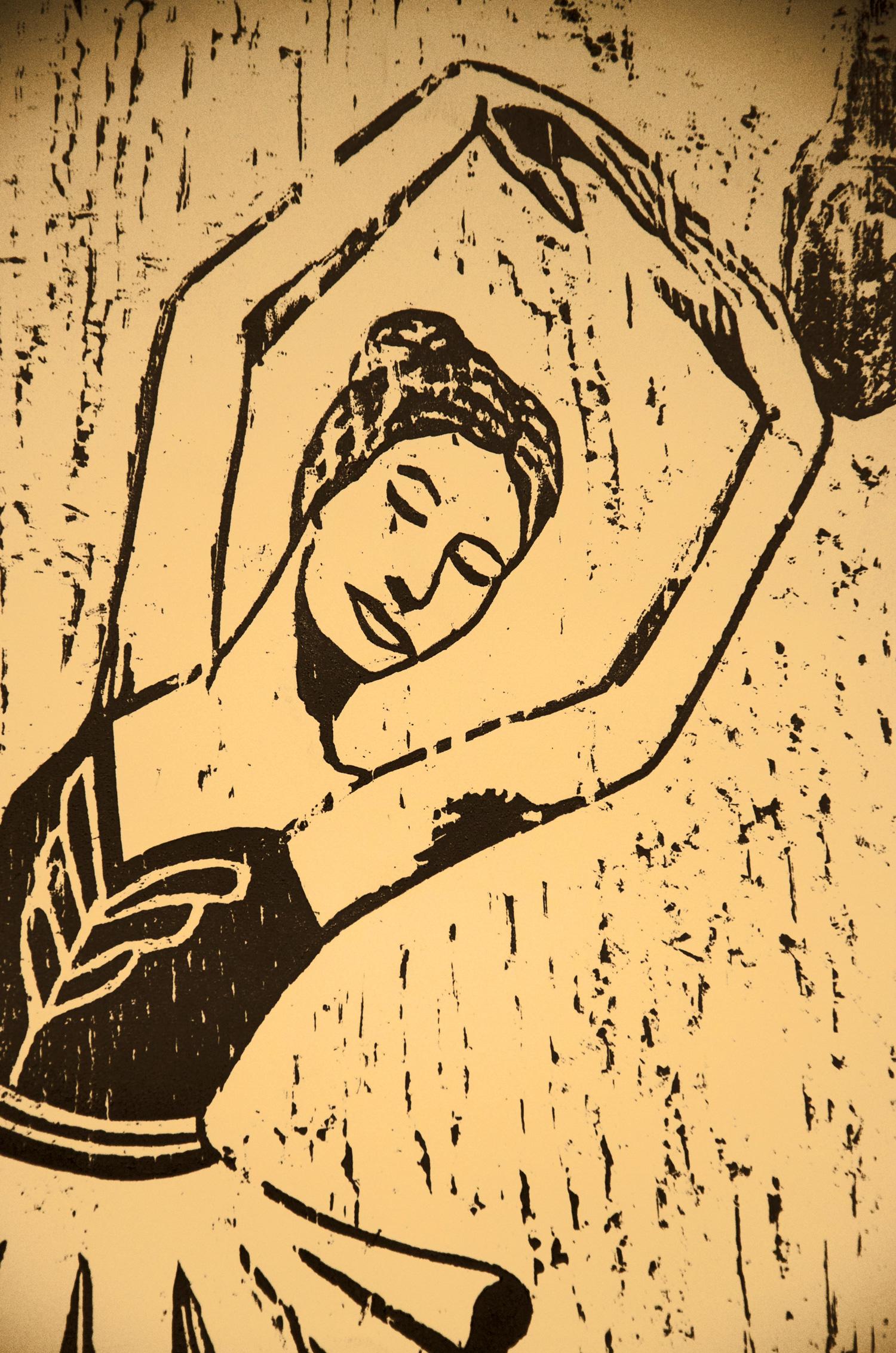 Ballerina, woodcut print, by Tara Marolf