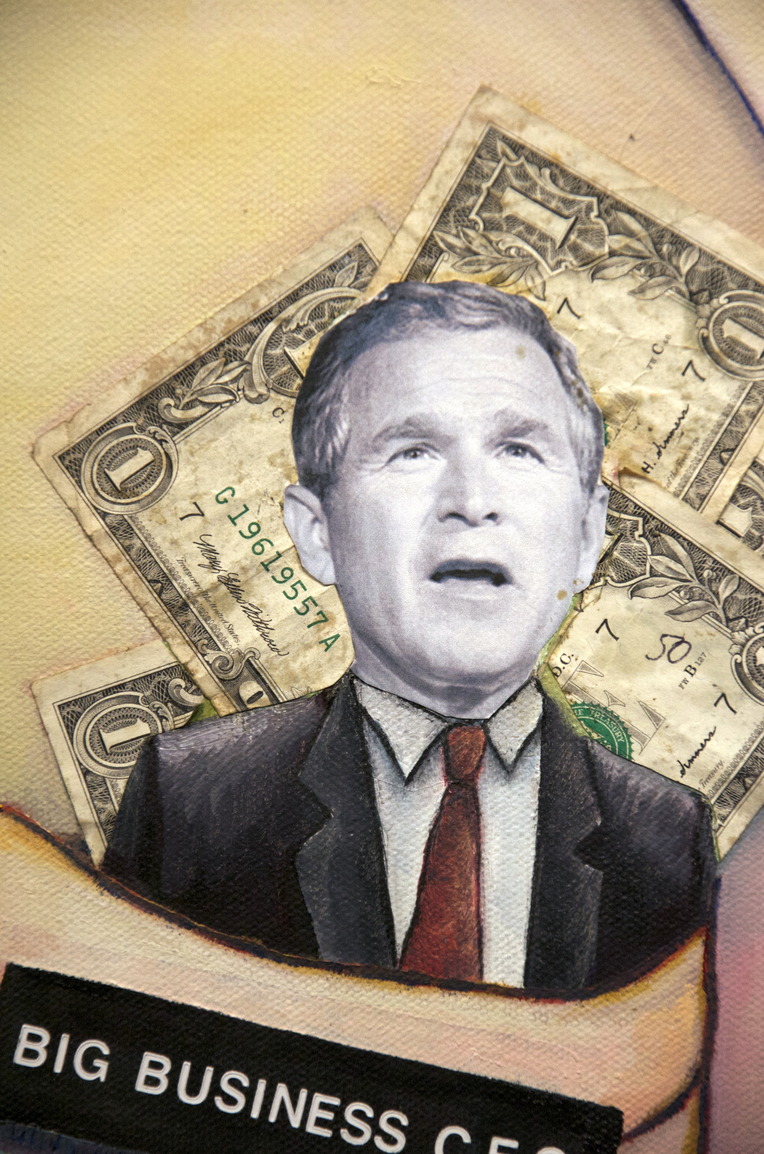 Best Seat In The House oil painting (GW Bush political satire), by Billy Reiter