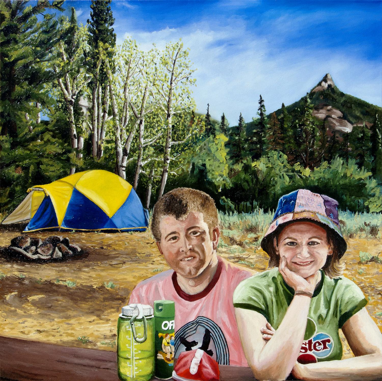 Billy & Tara Camping at Laramie Peak oil painting, by Billy Reiter