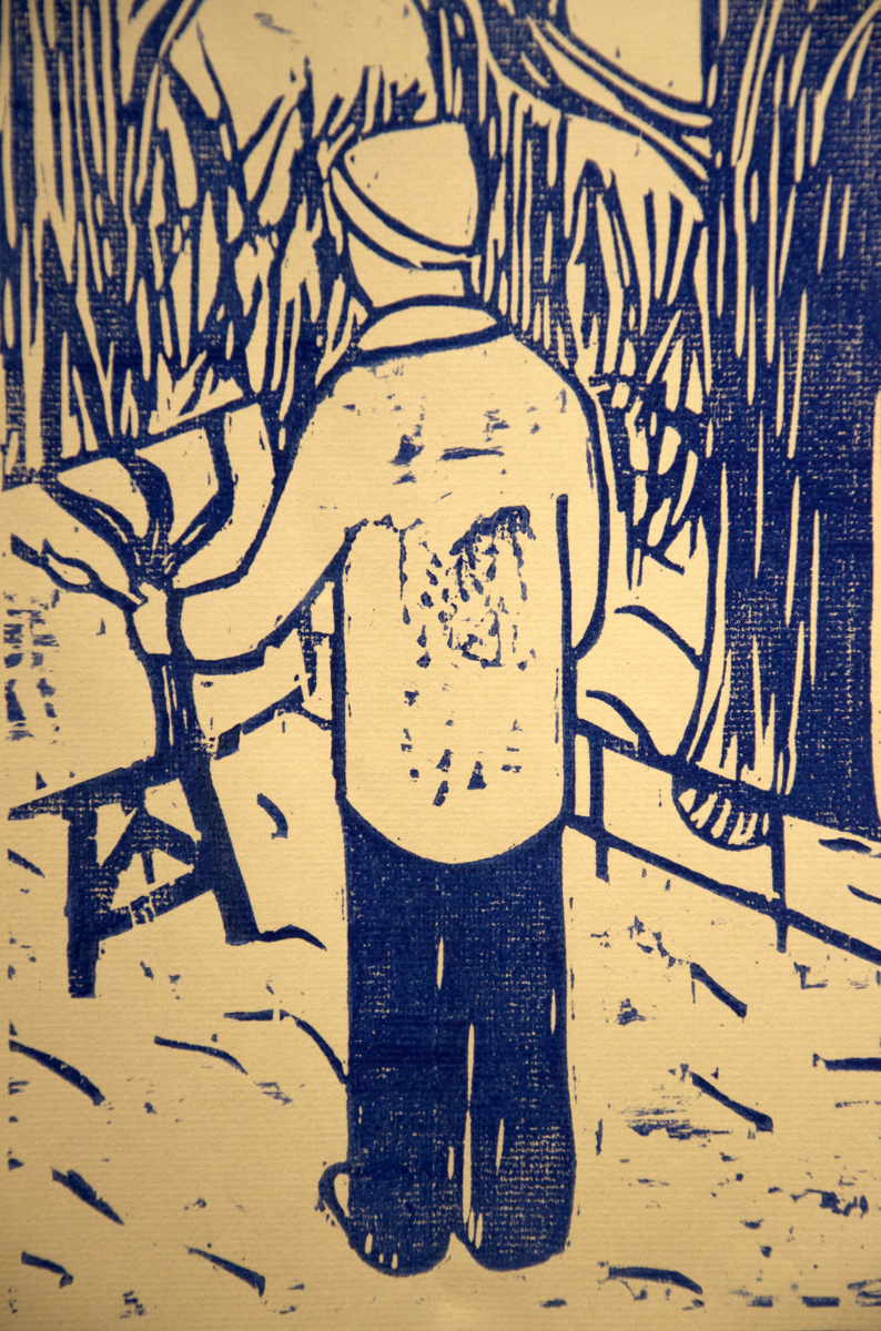 Billy woodcut print, by Tara Marolf