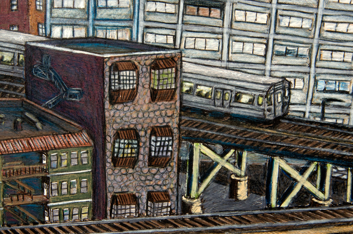 City #3 ink and watercolor pencil drawing with acrylic paint (Chicago imaginary cityscape), by Billy Reiter