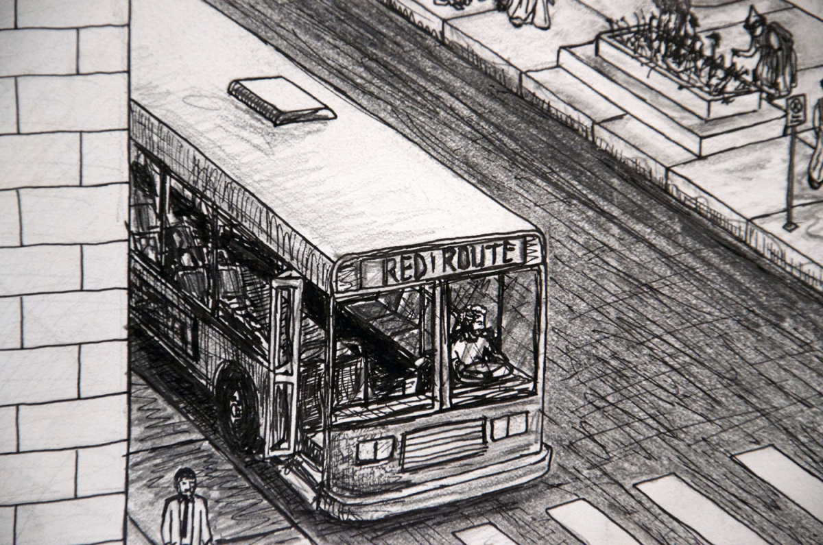 College Town, drawing (Iowa City imaginary cityscape), by Billy Reiter