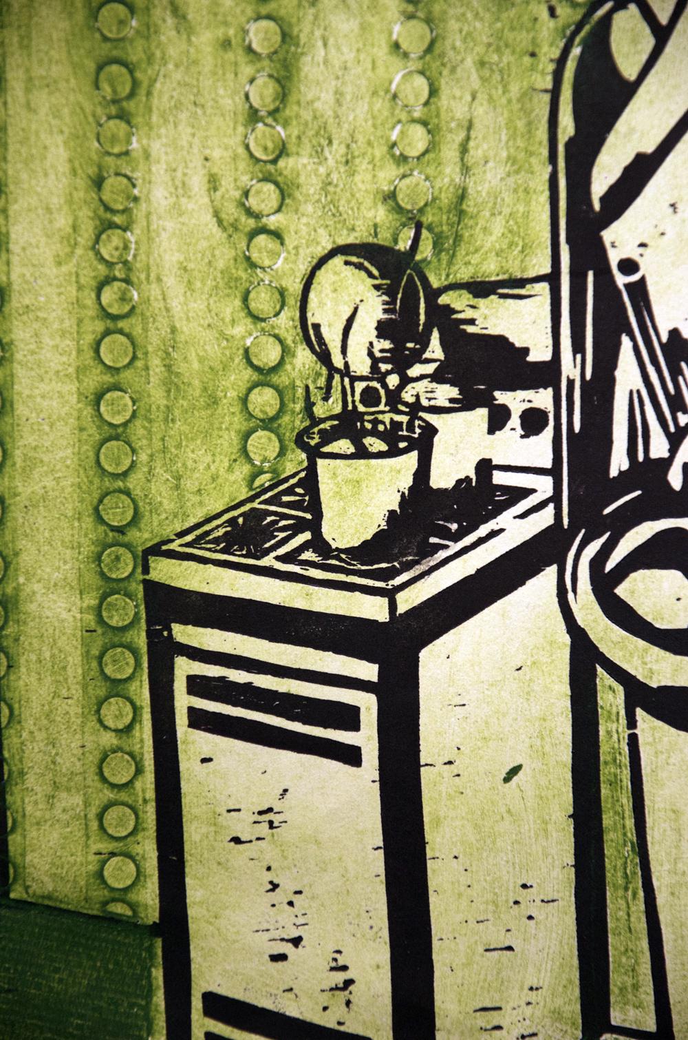 Dinner's Ready woodcut print, by Tara Marolf