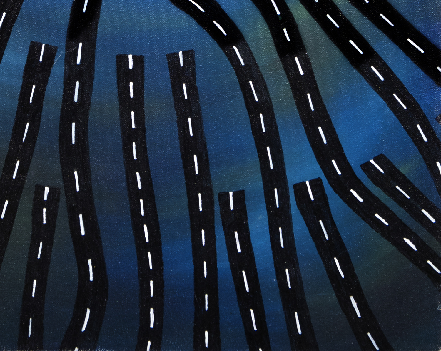 Every Road Leads Here #2 gouche and acrylic painting, by Billy Reiter