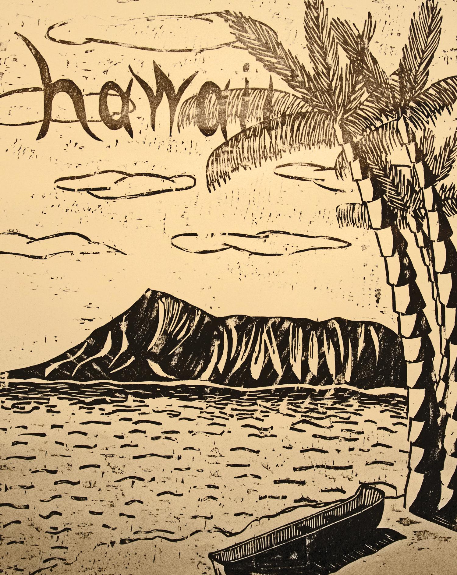 Hawaii woodcut print, by Tara Marolf