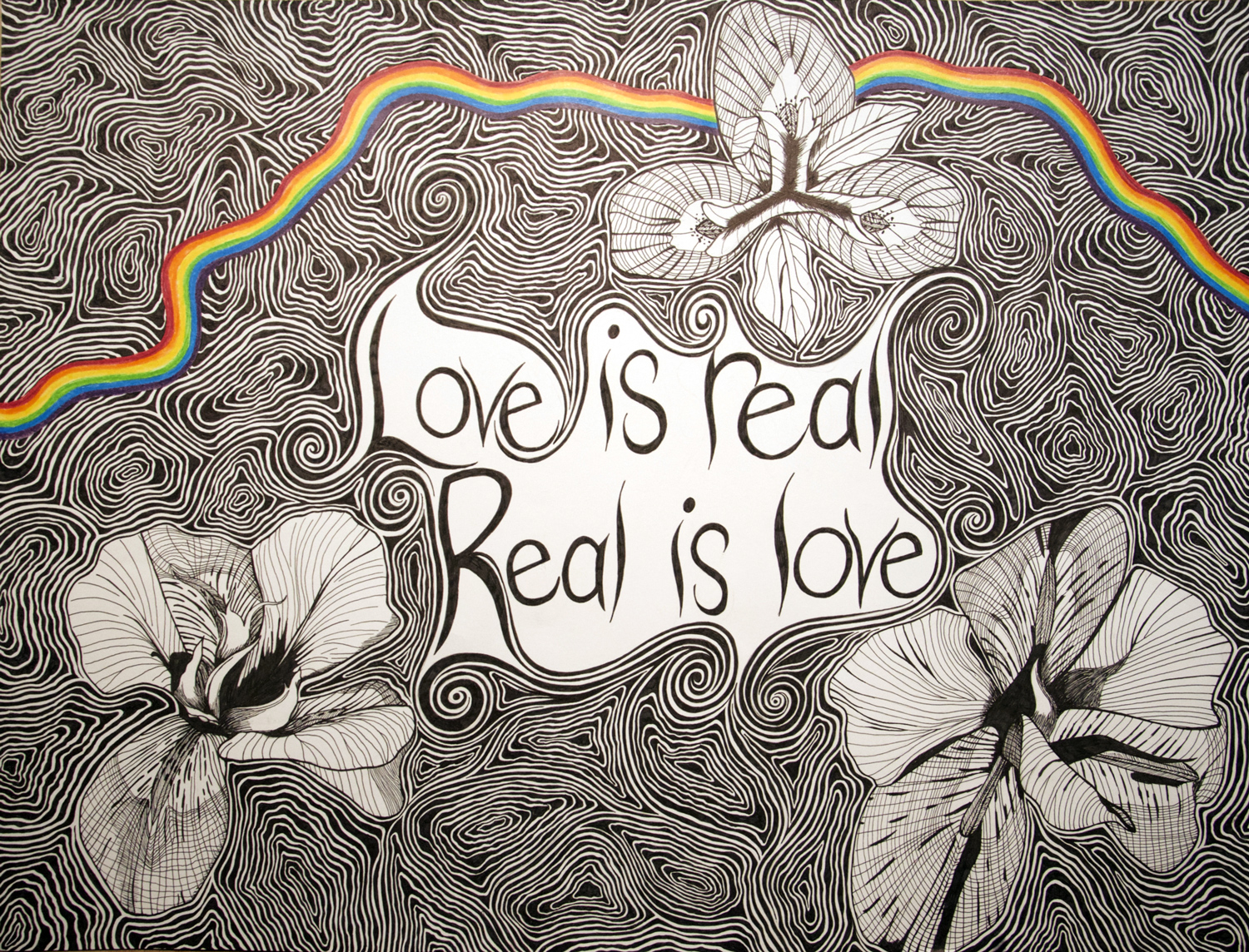 Love Is Real Flower drawing, by Tara Marolf
