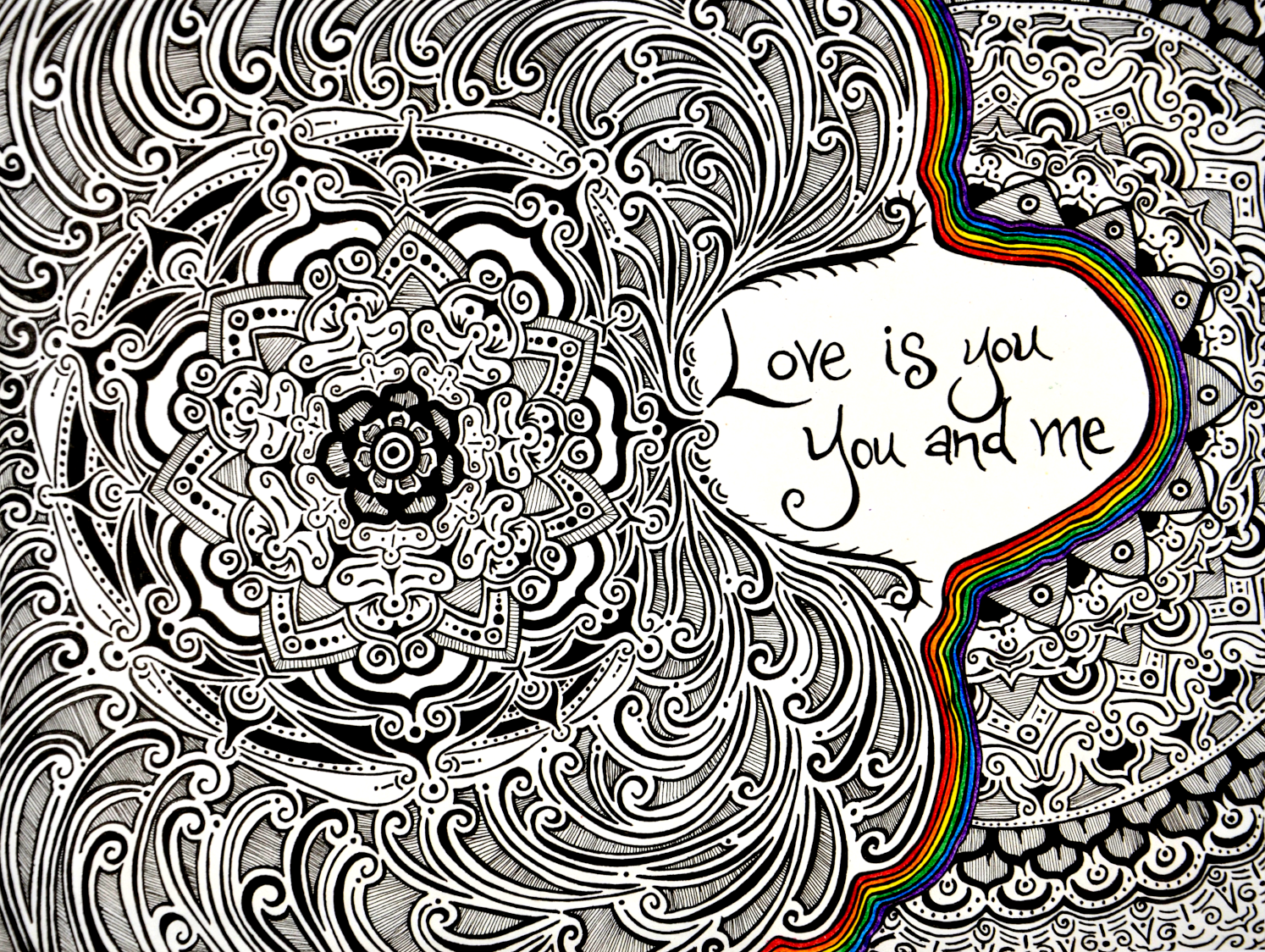 Love Is You flower drawing, by Tara Marolf