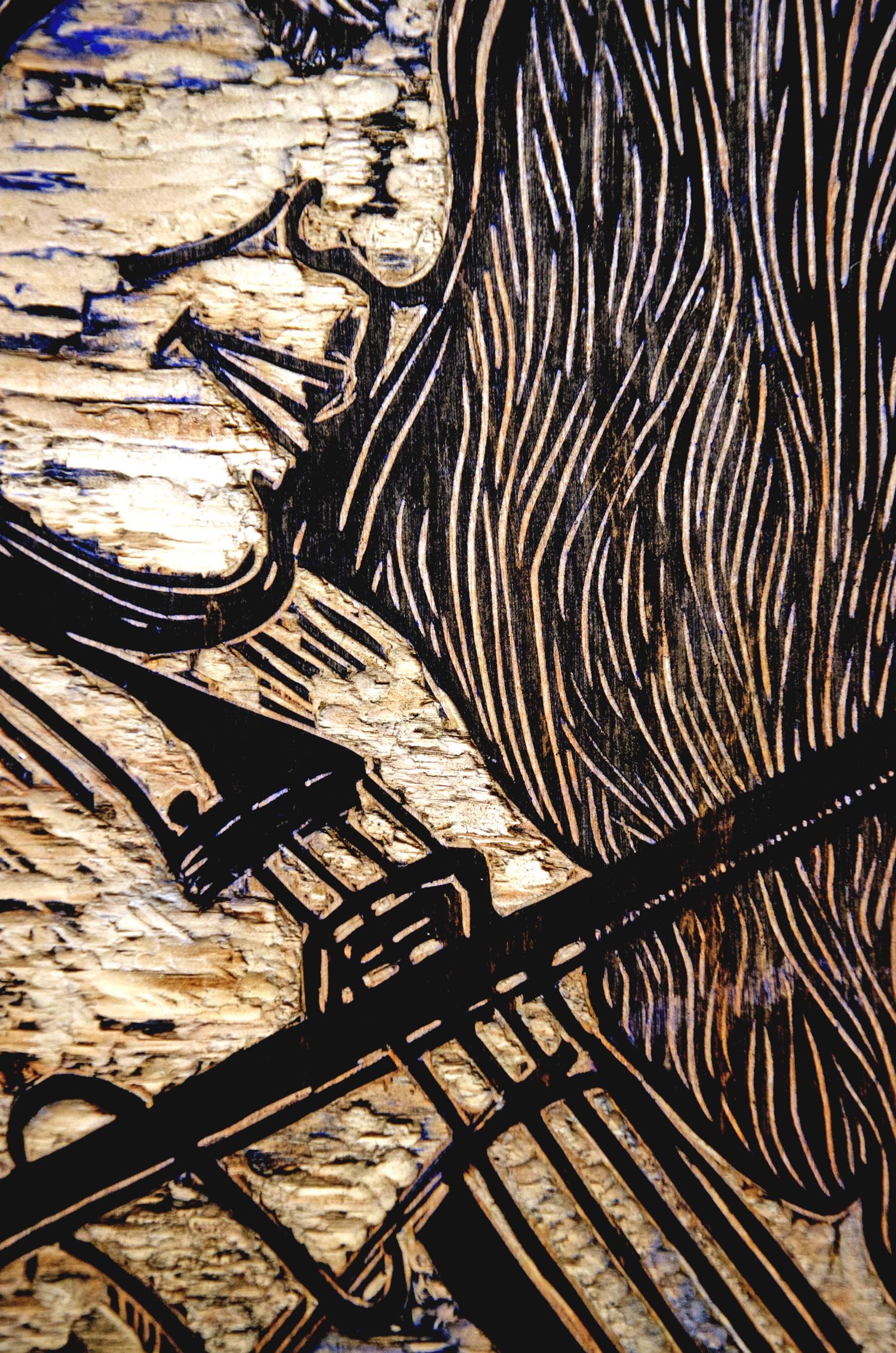 Me, woodcut print, by Tara Marolf