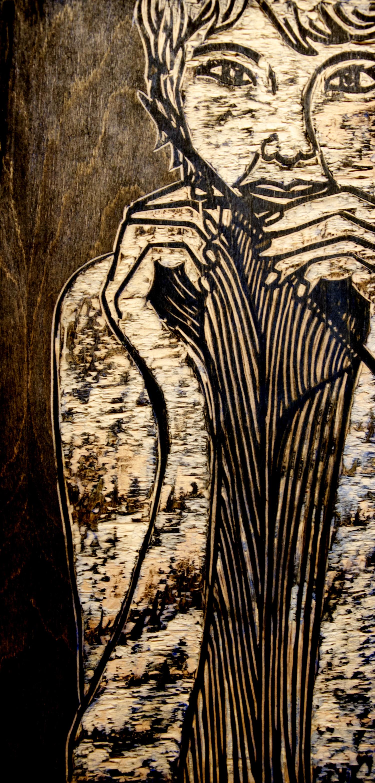 Sister woodcut print, by Tara Marolf