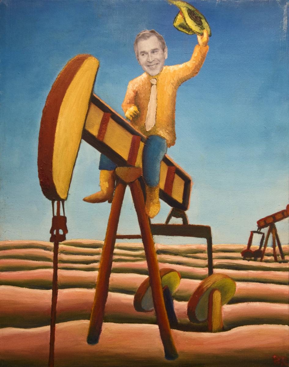 Midnight Cowboy oil painting (GW Bush political satire), by Billy Reiter