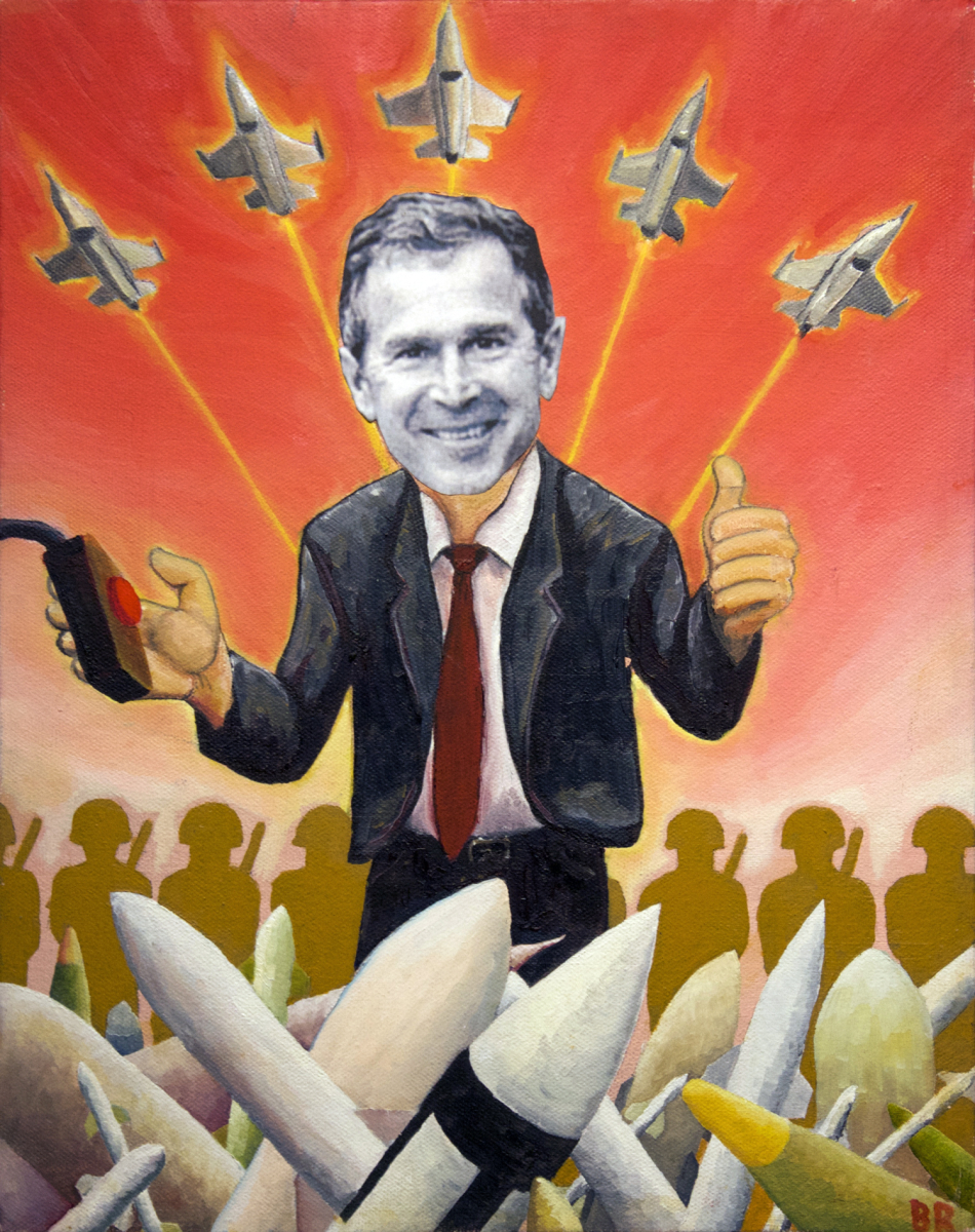 No Guns No Glory oil painting (GW Bush political satire), by Billy Reiter