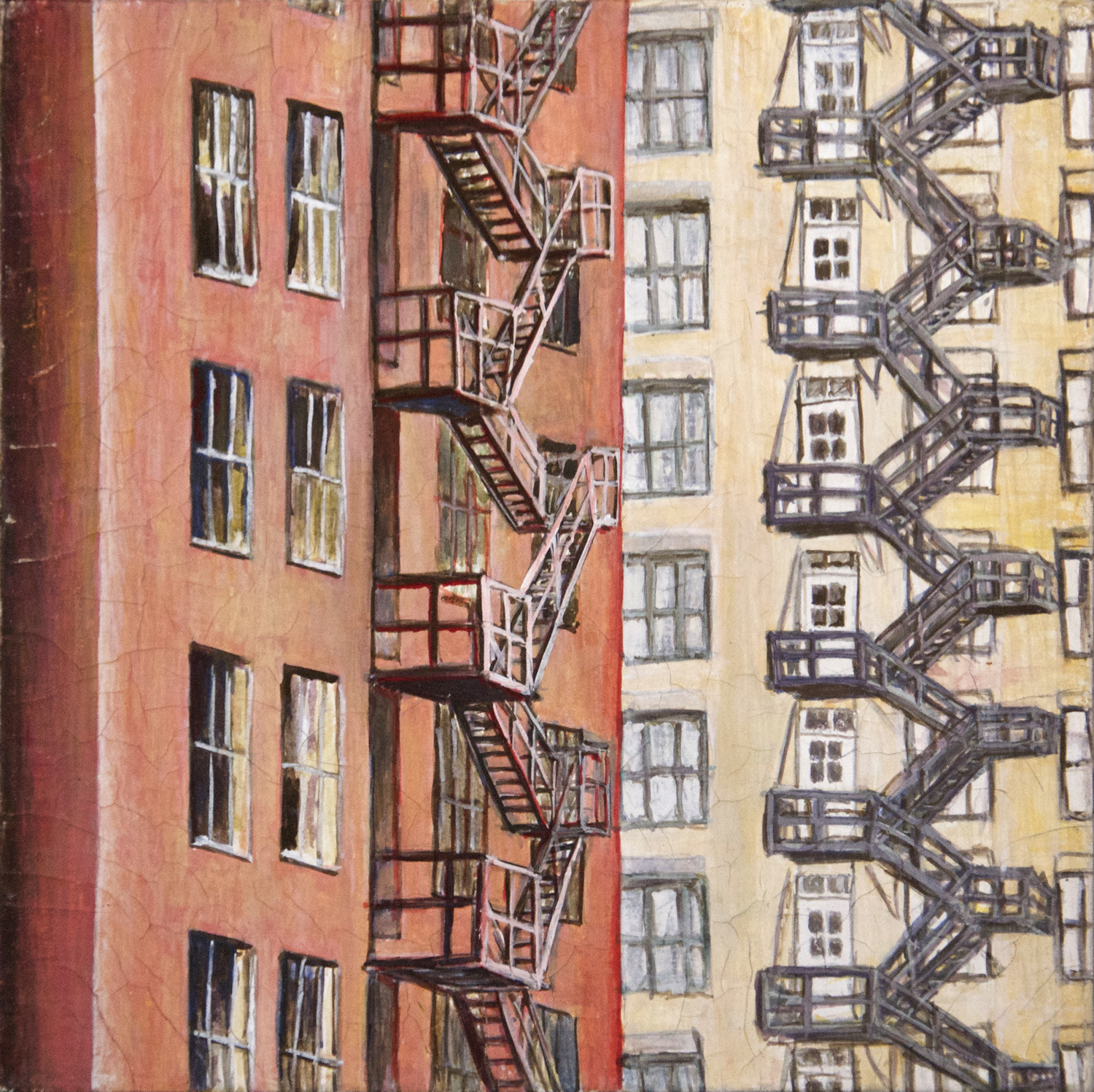 Red & Yellow Fire Escapes (Chicago) gouche painting, by Billy Reiter
