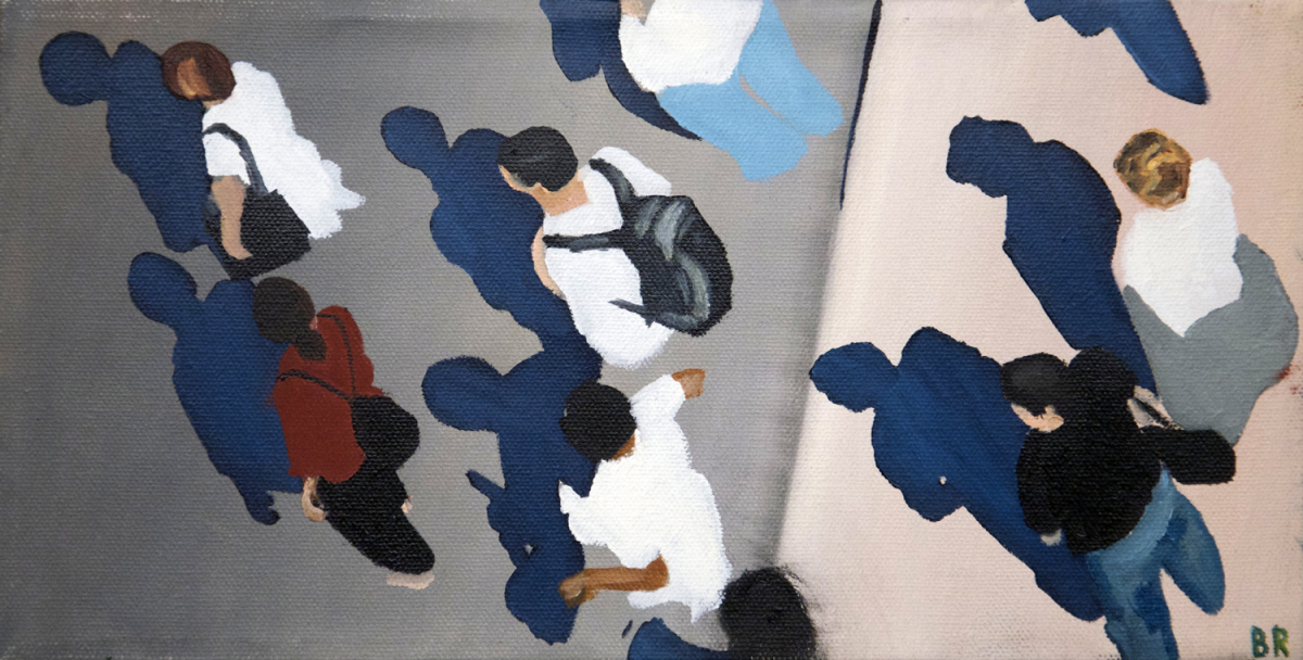 Sidewalk People #2 oil painting (Chicago), by Billy Reiter