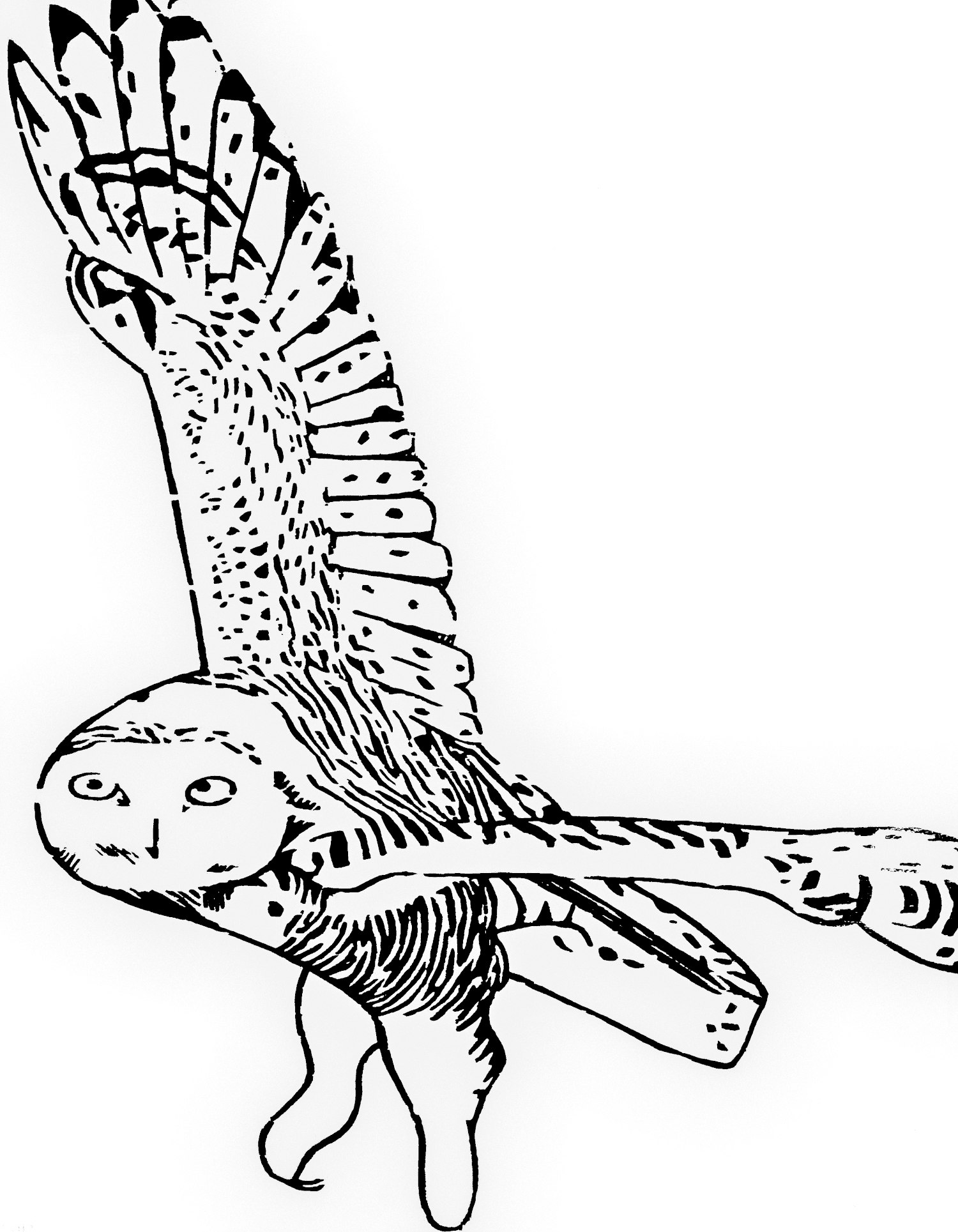 Snowy Owl white woodcut print, by Tara Marolf