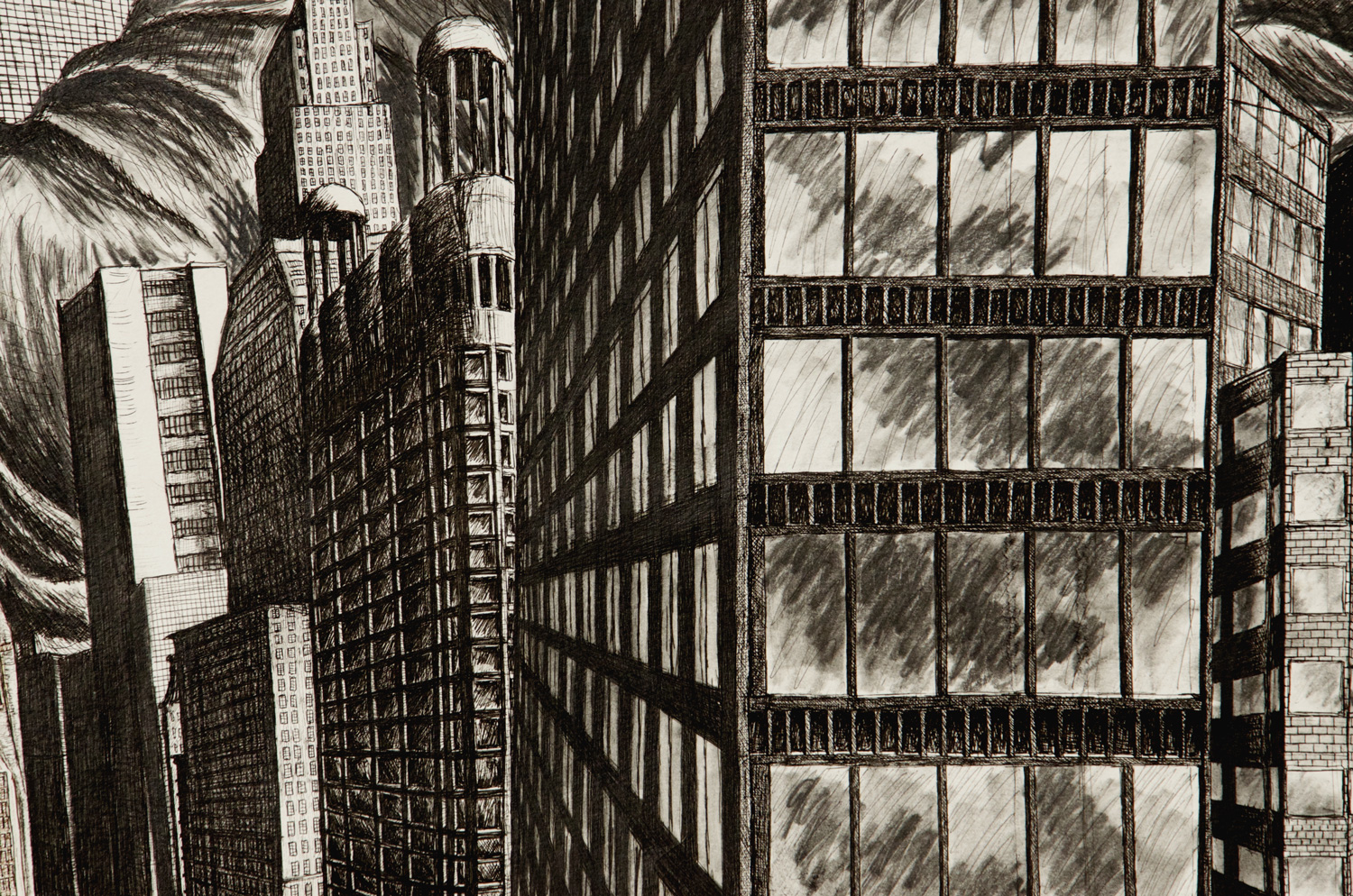 The Turbulent City drawing (Chicago imaginary cityscape), by Billy Reiter