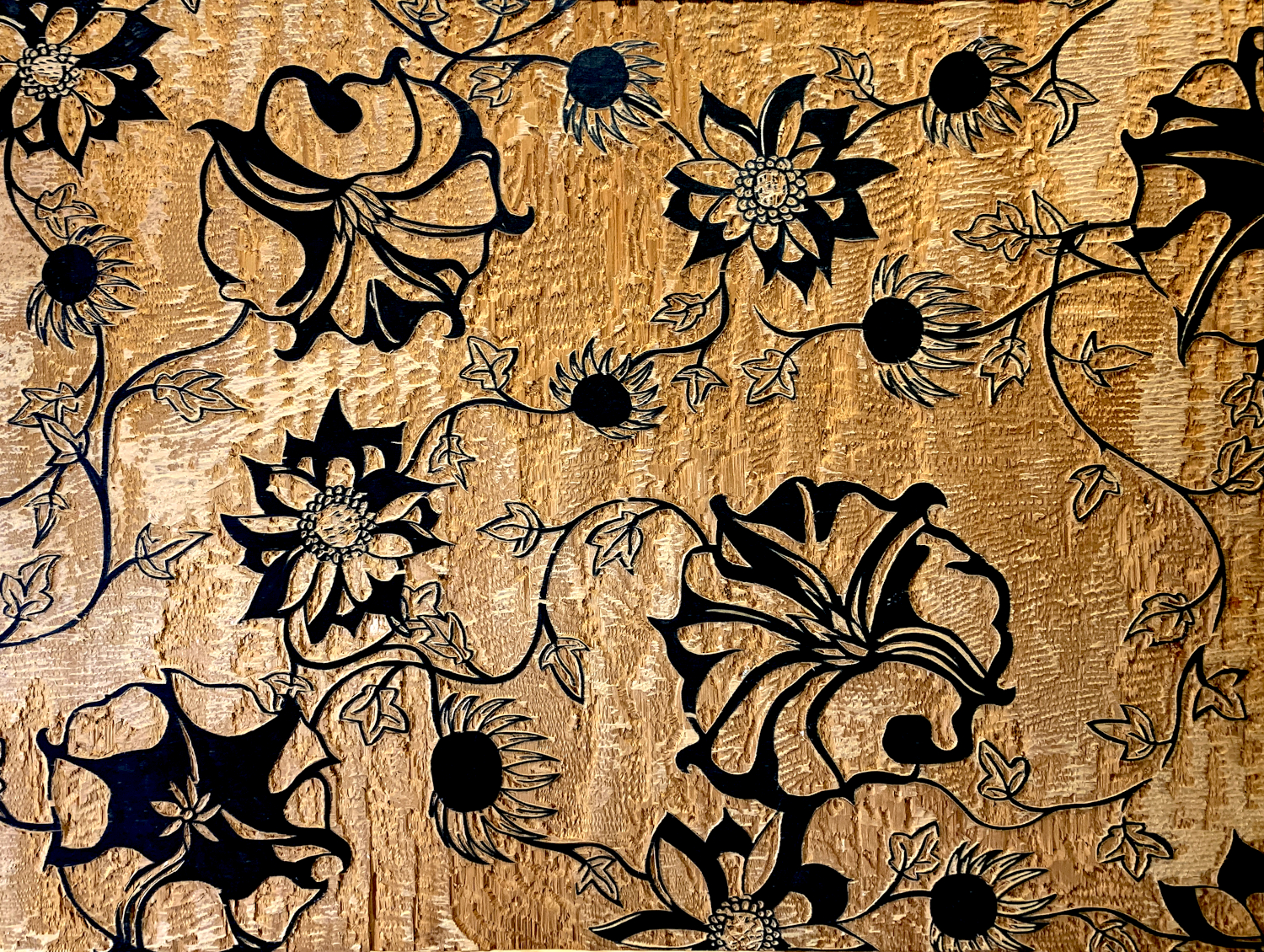 Wooden Flowers woodcut, by Tara Marolf