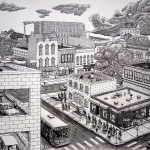 College Town drawing (Iowa City imaginary cityscape), by Billy Reiter