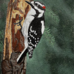 Downy Woodpecker gouche painting, by Billy Reiter