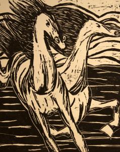 Horses woodcut print, by Tara Marolf