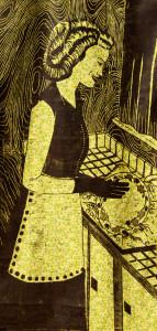 The Good Wife #3 woodcut print, by Tara Marolf