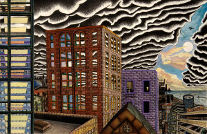 More Than One Sun ink and gouche painting (Chicago imaginary cityscape), by Billy Reiter