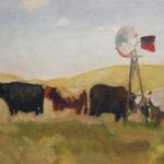 Nebraska Cows oil painting, by Billy Reiter