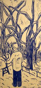 Billy woodcut print, by Tara Marolf