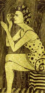 The Good Wife series, woodcut prints, by Tara Marolf