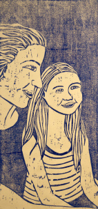 Mom woodcut print, by Tara Marolf