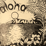 Aloha woodcut print, by Tara Marolf