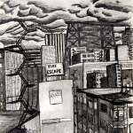 Fire Escape drawing (Chicago imaginary cityscape), by Billy Reiter