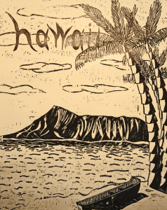 Hawaii woodcut print, by Tara Marolf