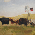 Nebraska Cows oil painting, by Billy Reiter