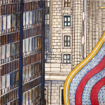 Randolph Street Trio (Chicago) gouche painting, by Billy Reiter