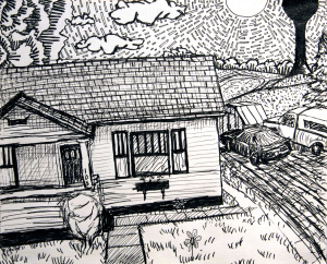 Tara's House - Summer drawing, by Billy Reiter