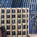 Thompson Center Spaceship (Chicago) oil painting, by Billy Reiter