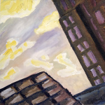 Yellow & Purple Sunset (Chicago) oil painting, by Billy Reiter