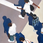 Sidewalk People #5 oil painting (Chicago), by Billy Reiter